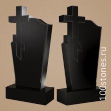 Классический  вертикальный памятник с вырезным православным крестом